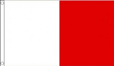 White and Red Half and Half Vertical 3 x2 90cm x 60cm Flag